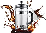Bruntmor, PLATINUM Special Edition 18/10 Steel 34oz French Coffee Press Non Drip Spout, Non-Rust - With Coffee Scoop
