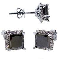 Amazon.com: 3.15 Carat Princess Cut Black Diamond Halo ...