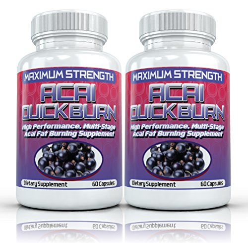 ACAI QUICK BURN (2 Bottles) High Performance Multi-Stage Fat Burner with Acai Berry & Garcinia Cambogia - 60 Capsules per Bottle
