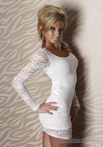 SExy Langarm Minikleid aus Spitze dreieckiges Cutout Zierschleife aus Satin Weiß Größe 34