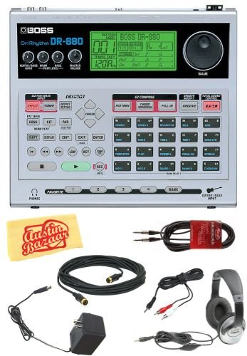 Boss DR-880 Dr. Rhythm Drum Machine Bundle with AC Adapter, Headphones, 20-Foot Instrument Cable, 10-Foot MIDI Cable, 1/8-Inch-to-RCA Cable, and Polishing Cloth