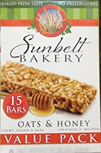 Amazoncom Sunbelt Bakery Granola Bars Chewy Oats amp Honey