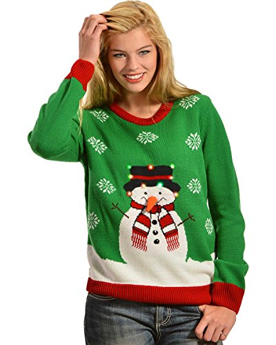 Lisa International Women's Snowman Light Up Christmas Sweater – 6942