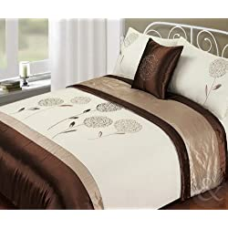 Just Contempo Bed in a Bag - Copripiumino ricamato in raso e finta seta, set completo di biancheria da letto, 5 pezzi, Poliestere, cristallo fiore - cioccolato marrone (beige), King size corredo letto (kingsize)
