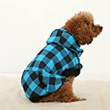 4 Pets Large Dog Plaid Shirt Coat Hoodie Pet Winter Clothes Warm and Soft Blue XL