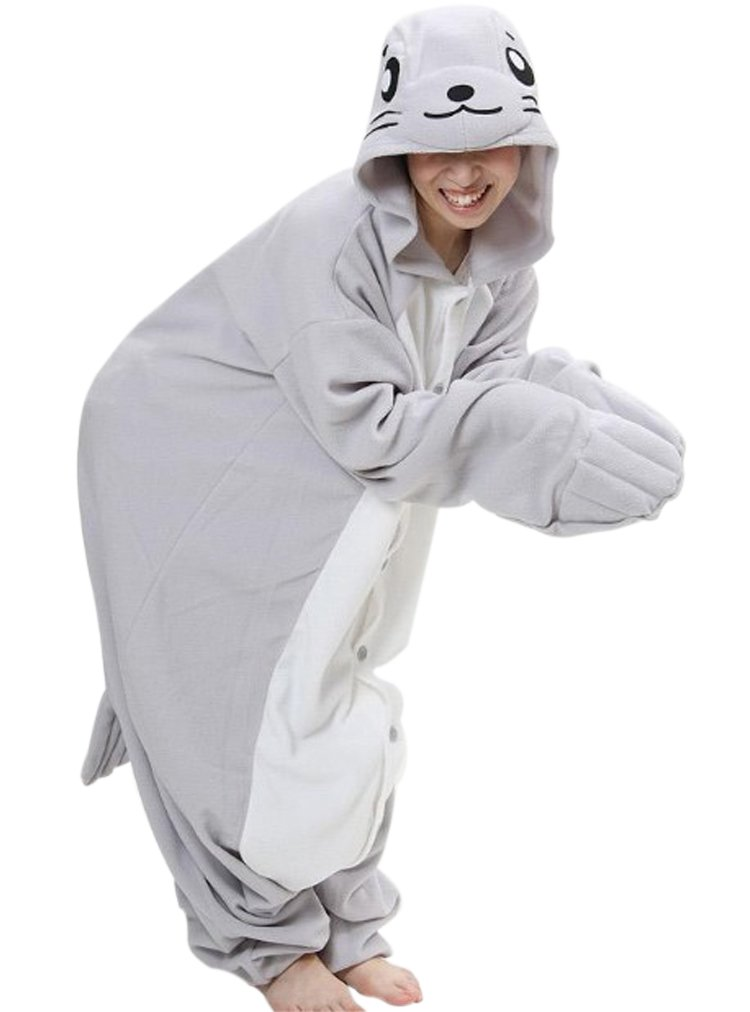 Fleece Kigu Pajamas Adult Costume Animal Pyjamas-Seal