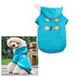 Blue Warm Winter Fashion Pet Dog clothes with hoodies Luxury quality size S