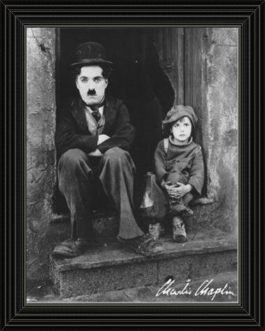 movie poster of Charlie Chaplin and Jackie Coogan in The Kid