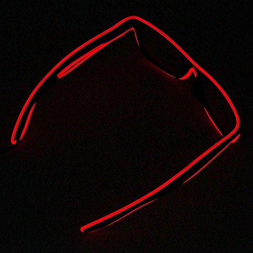 2016 LED EL Wire Glasses Light Up Glow Flashing Sunglasses Eyewear for Raves Party – Red