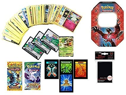 100 Pokemon Cards with Ultra Rare! Bonus 3 Pokemon Online Code Cards, 2 Booster Packs and 1 Pack of Protective Card Sleeves! Includes 3 Custom Golden Groundhog Token Counters!