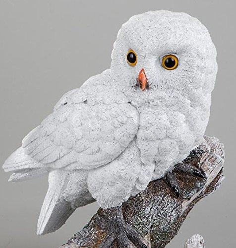 Eule Winterzeit handgefertigte Kunststein Figur, Größe 25cm