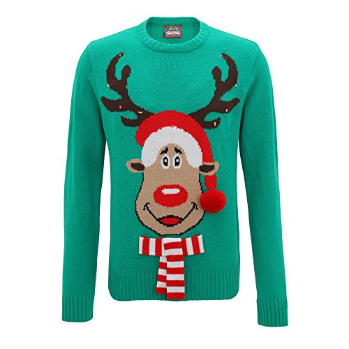 Christmas Shop Mens 3D Rudolph Light Up Knitted Sweater