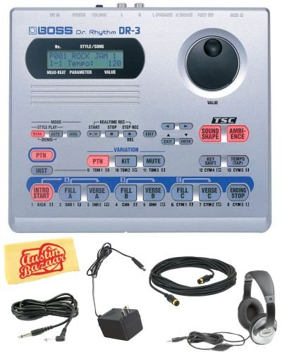 Boss DR-3 Dr. Rhythm Drum Machine Bundle with AC Adapter, Headphones, 10-Foot Instrument Cable, 10-Foot MIDI Cable, and Polishing Cloth