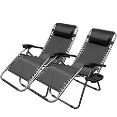 Zero Gravity Reclining Outdoor Lounge Chair 2 Pack Push Button Recliner Chairs Pedicure - Home Furniture Design