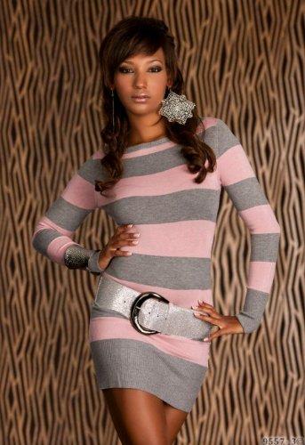 Hot and Sexy Langarm Damen Kleid Minikleid im Streifen Design aus feinem Strick mit Kaschmir Anteil Uni Größe M/L - 36/38 Rosa-Grau