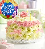 1-800-Flowers - Birthday Flower Cake Pastel - with Happy Birthday Balloon