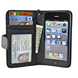Navor iPhone Life Protective Deluxe Book Style Folio Wallet Leather Case for iPhone 5 & iPhone 5S ( Black )
