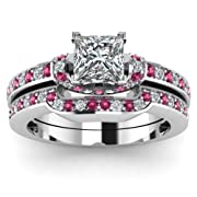 1.30 Ct Princess Cut Natural Diamond & Pink Sapphire Wedding Rings Set 14K Gold GIA (I ColorVS2 Clarity)