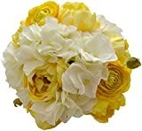 Flower Market Permanent Botanical Bouquet with Yellow Tulips, White Ranunculus and Hydrangea Leaves