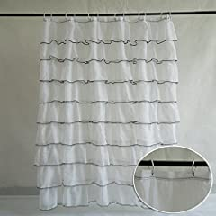 VDOMUS® Ruffled Shabby Chic Bouffant Crushed Sheer Shower Curtain with 9 Layers of Extra Long Sheer, White, 72