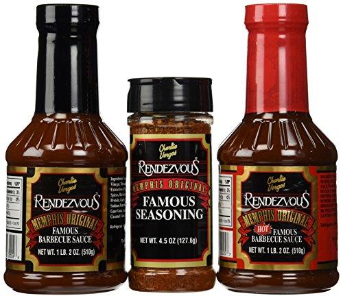 Charlie Vergos Rendezvous (Memphis) BBQ Sampler Bundle — Hot BBQ Sauce, Original BBQ Sauce & Seasoning Rub