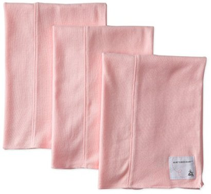 Burts-Bees-Baby-Girls-Organic-Bee-Essentials-Set-of-3-Solid-Burp-Cloths-Blossom-One-Size