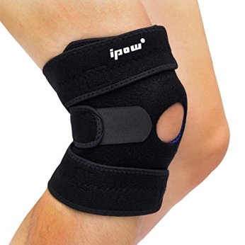 Ipow Breathable Knee Support, Non-slip Knee Brace Sleeve Wraps with Stabilizer and Neoprene Knee Pads Protector for Running,Sports,Patella Pain Relief, Arthritis and Injury Recovery- Adjustable, Black