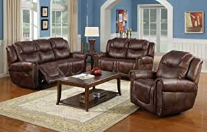 nora brown leather reclining 3 pc living room sofa set cheap sofas uk dfs amazon.com - ...