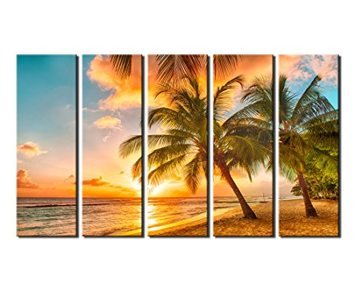 Sunset Sea Beach With Coconut Palm Tree Canvas Wall Art