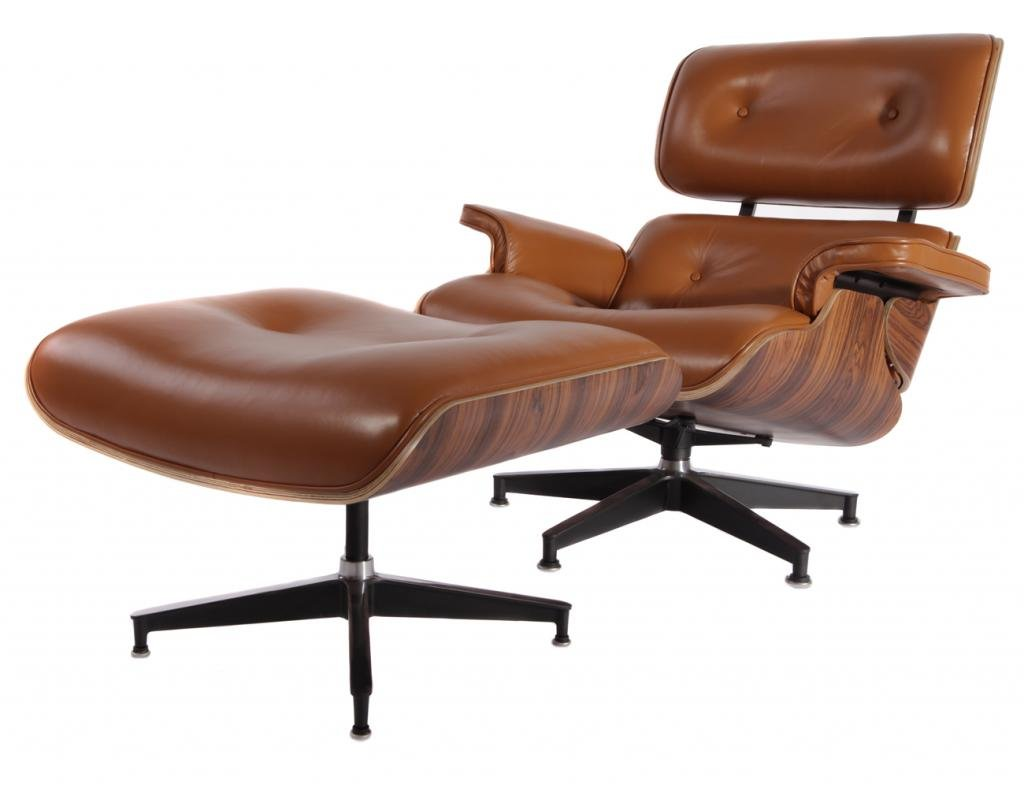 Mcm Chair Mcm Eames Style Lounge Chair Ottoman Stool Brown Aniline