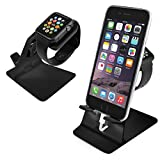 Orzly® - DuoStand Charge Station for Apple Watch & iPhone - Aluminum Desk Stand Cradle in BLACK with Built-In Insert Slots for both Grommet Wireless Charger and Lightning Cable for use as a fully functional Charging Station / Dock for both your Apple Watch & iPhone Simultaneously - Fits iPhone Models: 5 / 5S / 5C / 6 / 6 PLUS and both 42mm & 38mm sizes of 2015 Watch Models (Original BASIC Model / SPORT Version / and EDITION Models)