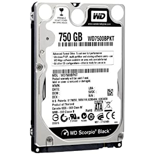 Western Digital WD Scorpio Black 750 GB SATA 3 GB/s 7200 RPM 16 MB Cache Internal Bulk/OEM 2.5-Inch Mobile Hard Drive