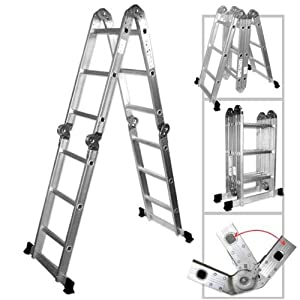 Neiko® 01995 Folding Aluminum Ladder, 12.5-Ft Extended