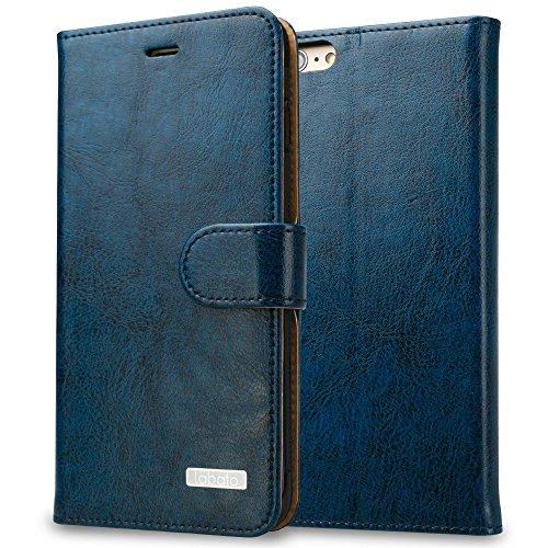 Labato iPhone6Sケース 手帳型 本革レザー TPU スタンド カードポケット(ブルー Lbt-IP6-07Z46