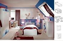 Jugendzimmer Thomas, 4tlg., weiß/blau NEU