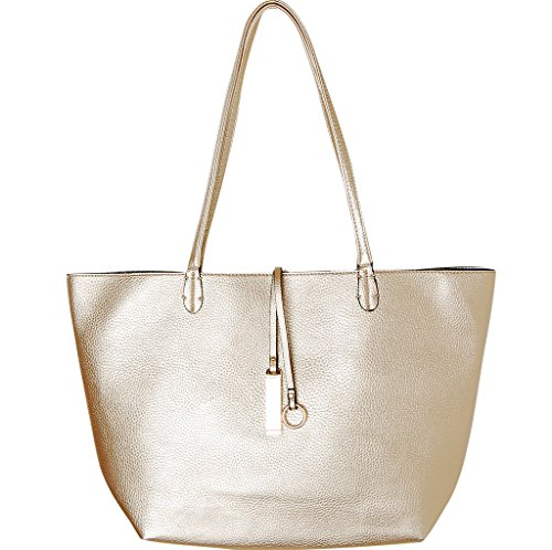 Humble Chic Women's Reversible Vegan Leather Tote - Gold/Silver - Oversized Pebbled Work Bag, Gold,