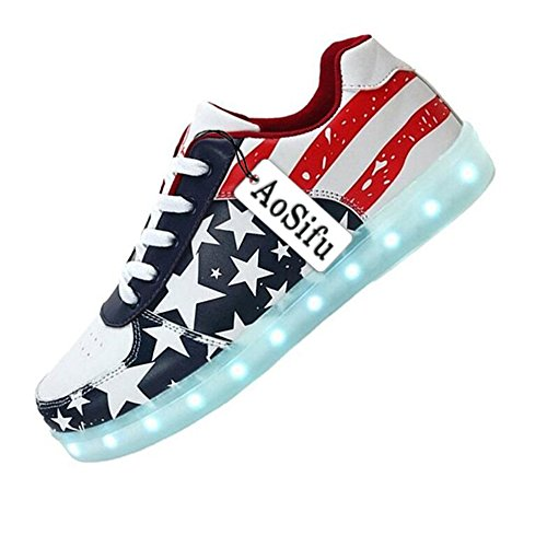 AoSiFu Unisex Women Men USB Charging LED Shoes Flashing American USA Flag Running Light Sneakers
