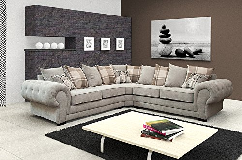 best price living room furniture spaces for corner sofa verona fabric grey brown cream designer scatter cushions light