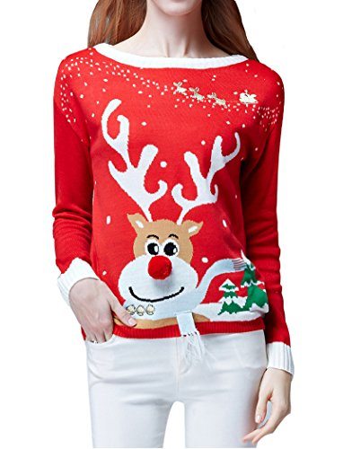 Womens-Ugly-Christmas-Sweater-V28-Ladies-Girls-Cute-Reindeer-3D-Nose-Sweater