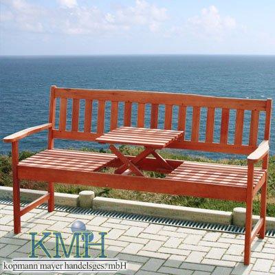 Gartenbank aus massivem Eukalyptusholz (mit integriertem, einklappbarem Tisch) / Sitzbank / Parkbank / Bank