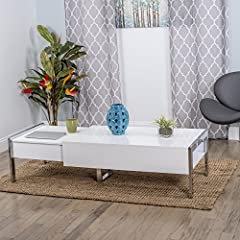 Selva White Lacquer Slide Away Lift-Top Rectangular Coffee Table