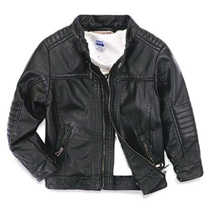 LJYH-Boys-leather-jacket-childrens-motorcycle-leather-zipper-coat-black-3-14T-Black-T3-4