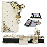 myLife Unique Pearl White I Love You + Diamond Gems + Gold Tassle {Creative Design} Faux Leather (Card, Cash and ID Holder + Magnetic Closing) Slim Wallet for the iPhone 5C Smartphone by Apple (External Textured Synthetic Leather with Magnetic Clip + Internal Secure Snap In Hard Rubberized Bumper Holder)