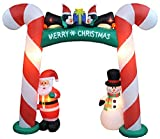 8 Foot Tall Lighted Christmas Inflatable Candy Cane Archway with Santa Claus Snowman Penguins and Gift Yard Party Decoration