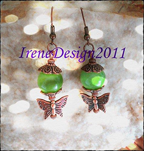 Old Green Jade & Butterfly Earrings