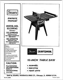 c.1977 Craftsman 113.299142 / 113.299040 / 113.299470 10