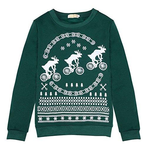 Women Retro Reindeer Snowflakes Rudolph Christmas Cardigan Graphic Sweatershirt