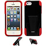 5s Case,VAKOO® iPhone 5s Case,iPhone 5 Case Dual Layer Defender Shockproof Drop proof High Impact Hybrid Armor Silicone Rugged Kickstand Case for Apple iPhone 5 5S (Red/Black)