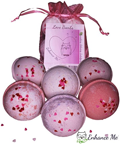 Enhance Me Love and Hearts Bath Bombs, Handmade with Organic Palm Oil, Rich Shea Butter and Coconut Oil 6 Spa Bomb Gift Set