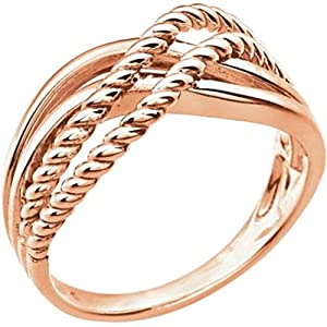 Amazon.com: Crossover Rope Design Ring in 14k Rose Gold